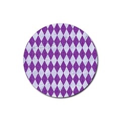 Diamond1 White Marble & Purple Denim Rubber Round Coaster (4 Pack)  by trendistuff