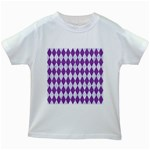 DIAMOND1 WHITE MARBLE & PURPLE DENIM Kids White T-Shirts