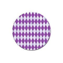 Diamond1 White Marble & Purple Denim Magnet 3  (round)