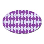 DIAMOND1 WHITE MARBLE & PURPLE DENIM Oval Magnet
