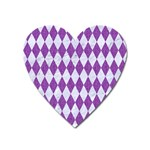 DIAMOND1 WHITE MARBLE & PURPLE DENIM Heart Magnet