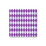 DIAMOND1 WHITE MARBLE & PURPLE DENIM Square Magnet