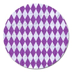 Diamond1 White Marble & Purple Denim Magnet 5  (round)