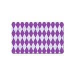DIAMOND1 WHITE MARBLE & PURPLE DENIM Magnet (Name Card)