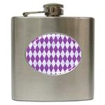DIAMOND1 WHITE MARBLE & PURPLE DENIM Hip Flask (6 oz)