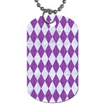 DIAMOND1 WHITE MARBLE & PURPLE DENIM Dog Tag (Two Sides)
