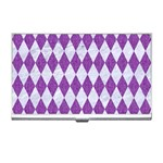 DIAMOND1 WHITE MARBLE & PURPLE DENIM Business Card Holders