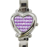 DIAMOND1 WHITE MARBLE & PURPLE DENIM Heart Italian Charm Watch