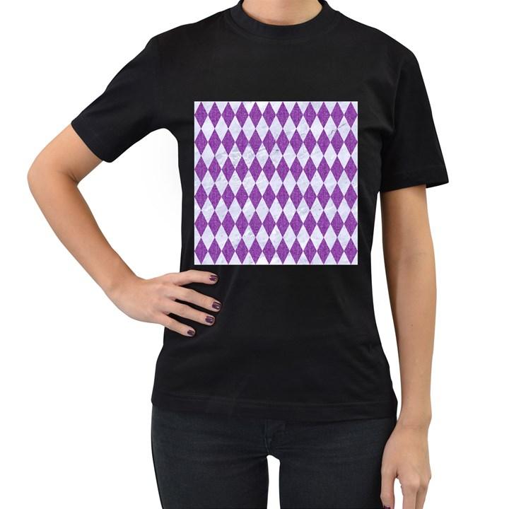 DIAMOND1 WHITE MARBLE & PURPLE DENIM Women s T-Shirt (Black) (Two Sided)