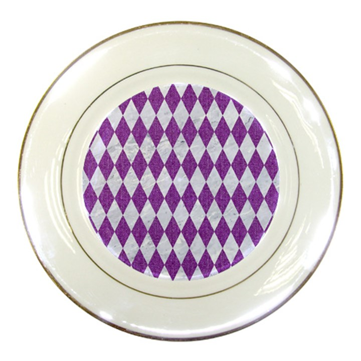 DIAMOND1 WHITE MARBLE & PURPLE DENIM Porcelain Plates