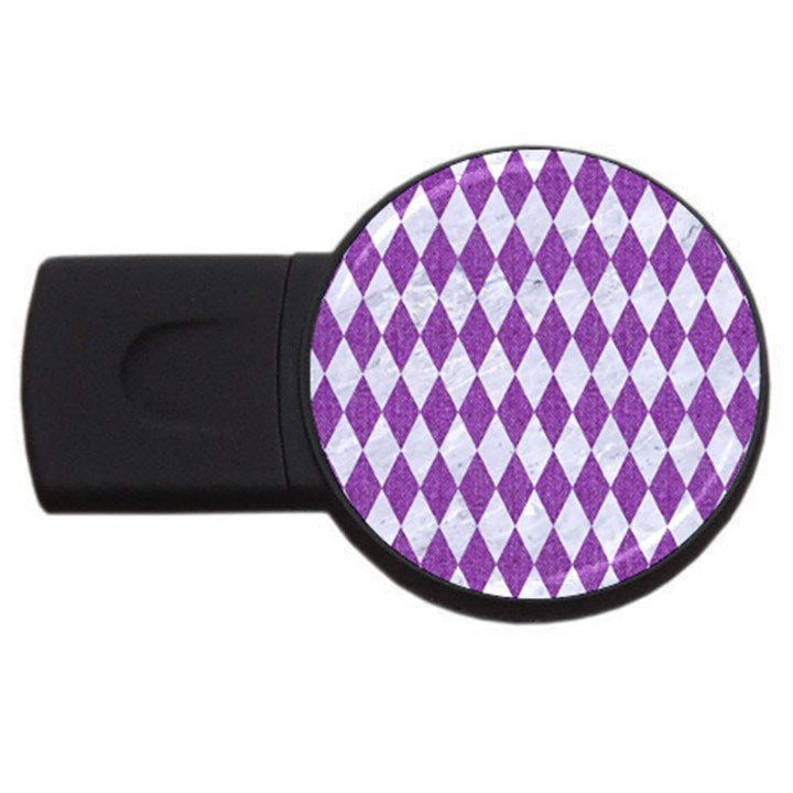 DIAMOND1 WHITE MARBLE & PURPLE DENIM USB Flash Drive Round (4 GB)