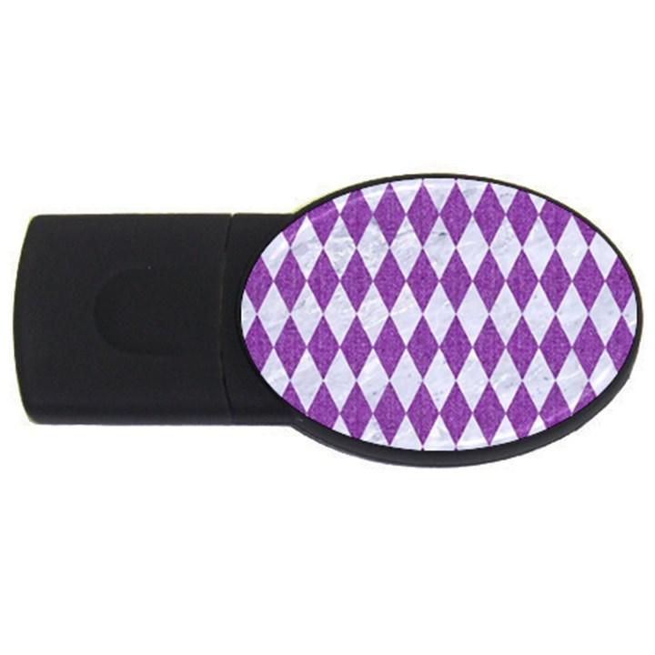 DIAMOND1 WHITE MARBLE & PURPLE DENIM USB Flash Drive Oval (4 GB)