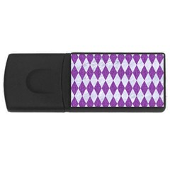Diamond1 White Marble & Purple Denim Rectangular Usb Flash Drive