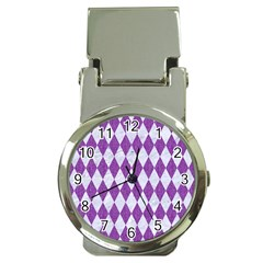Diamond1 White Marble & Purple Denim Money Clip Watches