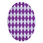 DIAMOND1 WHITE MARBLE & PURPLE DENIM Oval Ornament (Two Sides) Front