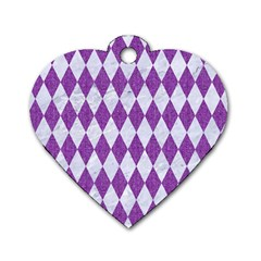 Diamond1 White Marble & Purple Denim Dog Tag Heart (one Side)