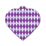 DIAMOND1 WHITE MARBLE & PURPLE DENIM Dog Tag Heart (One Side) Front