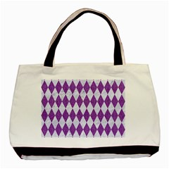 Diamond1 White Marble & Purple Denim Basic Tote Bag (two Sides) by trendistuff