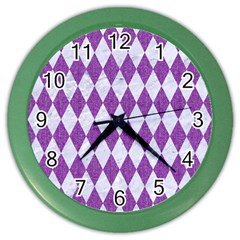 Diamond1 White Marble & Purple Denim Color Wall Clocks
