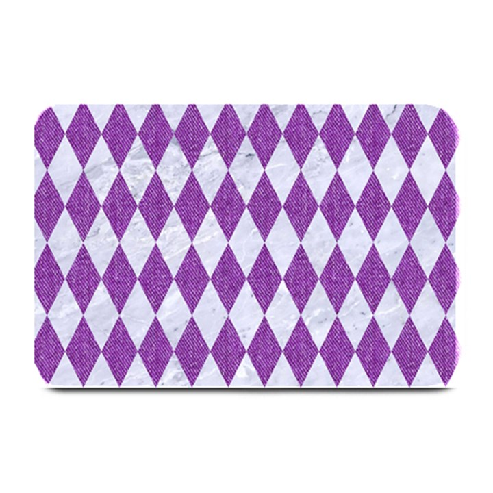 DIAMOND1 WHITE MARBLE & PURPLE DENIM Plate Mats