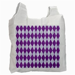 Diamond1 White Marble & Purple Denim Recycle Bag (two Side)  by trendistuff