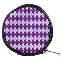 Diamond1 White Marble & Purple Denim Mini Makeup Bags