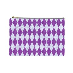 Diamond1 White Marble & Purple Denim Cosmetic Bag (large)