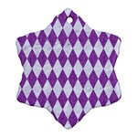DIAMOND1 WHITE MARBLE & PURPLE DENIM Ornament (Snowflake) Front
