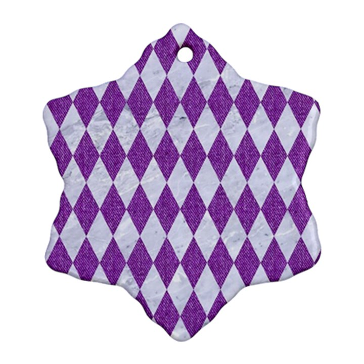 DIAMOND1 WHITE MARBLE & PURPLE DENIM Ornament (Snowflake)