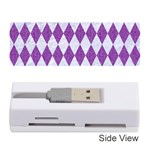 DIAMOND1 WHITE MARBLE & PURPLE DENIM Memory Card Reader (Stick)  Front