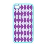DIAMOND1 WHITE MARBLE & PURPLE DENIM Apple iPhone 4 Case (Color) Front