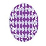 DIAMOND1 WHITE MARBLE & PURPLE DENIM Oval Filigree Ornament (Two Sides) Back