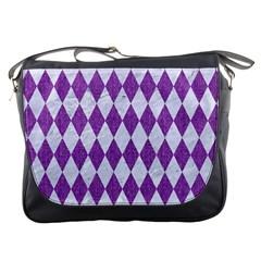 Diamond1 White Marble & Purple Denim Messenger Bags
