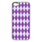 DIAMOND1 WHITE MARBLE & PURPLE DENIM Apple iPhone 5 Case (Silver) Front