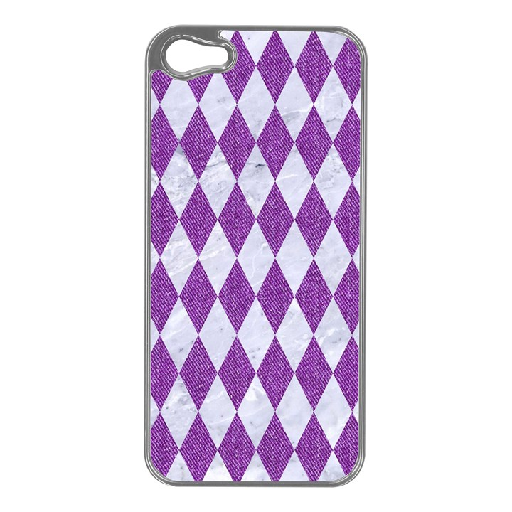DIAMOND1 WHITE MARBLE & PURPLE DENIM Apple iPhone 5 Case (Silver)