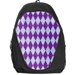 DIAMOND1 WHITE MARBLE & PURPLE DENIM Backpack Bag Front
