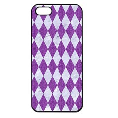 Diamond1 White Marble & Purple Denim Apple Iphone 5 Seamless Case (black)