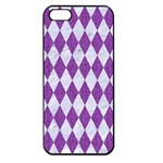 DIAMOND1 WHITE MARBLE & PURPLE DENIM Apple iPhone 5 Seamless Case (Black) Front