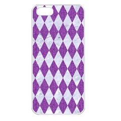 Diamond1 White Marble & Purple Denim Apple Iphone 5 Seamless Case (white)