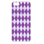 DIAMOND1 WHITE MARBLE & PURPLE DENIM Apple iPhone 5 Seamless Case (White) Front
