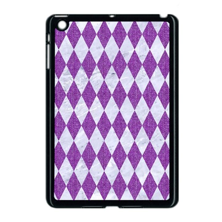 DIAMOND1 WHITE MARBLE & PURPLE DENIM Apple iPad Mini Case (Black)