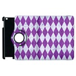 DIAMOND1 WHITE MARBLE & PURPLE DENIM Apple iPad 2 Flip 360 Case Front