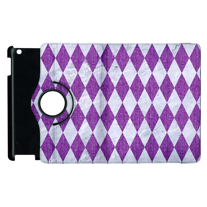 DIAMOND1 WHITE MARBLE & PURPLE DENIM Apple iPad 2 Flip 360 Case