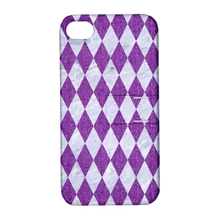 DIAMOND1 WHITE MARBLE & PURPLE DENIM Apple iPhone 4/4S Hardshell Case with Stand