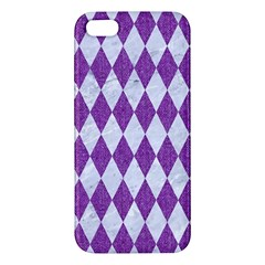 Diamond1 White Marble & Purple Denim Apple Iphone 5 Premium Hardshell Case