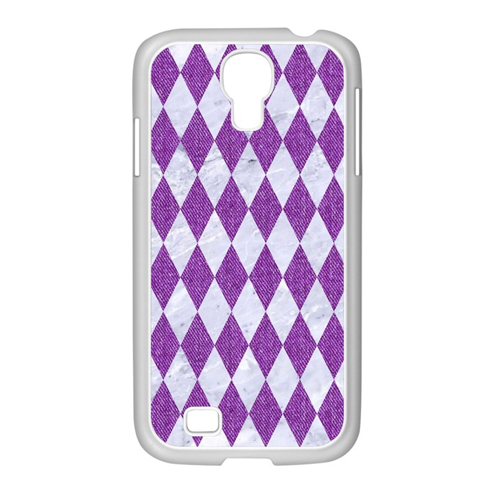 DIAMOND1 WHITE MARBLE & PURPLE DENIM Samsung GALAXY S4 I9500/ I9505 Case (White)