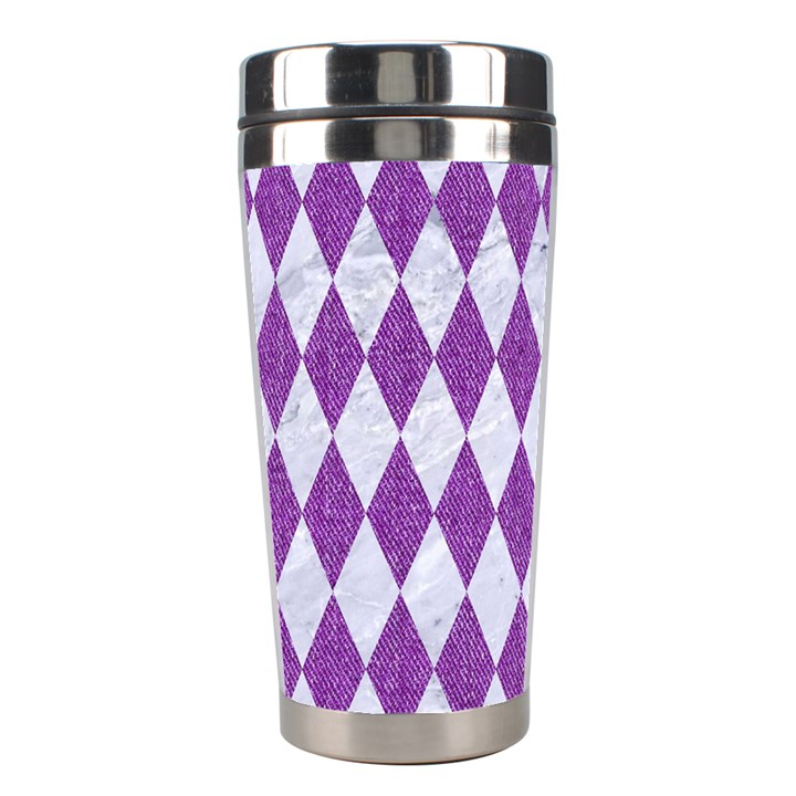 DIAMOND1 WHITE MARBLE & PURPLE DENIM Stainless Steel Travel Tumblers