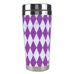 DIAMOND1 WHITE MARBLE & PURPLE DENIM Stainless Steel Travel Tumblers Center