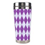 DIAMOND1 WHITE MARBLE & PURPLE DENIM Stainless Steel Travel Tumblers Right