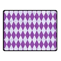 Diamond1 White Marble & Purple Denim Double Sided Fleece Blanket (small)
